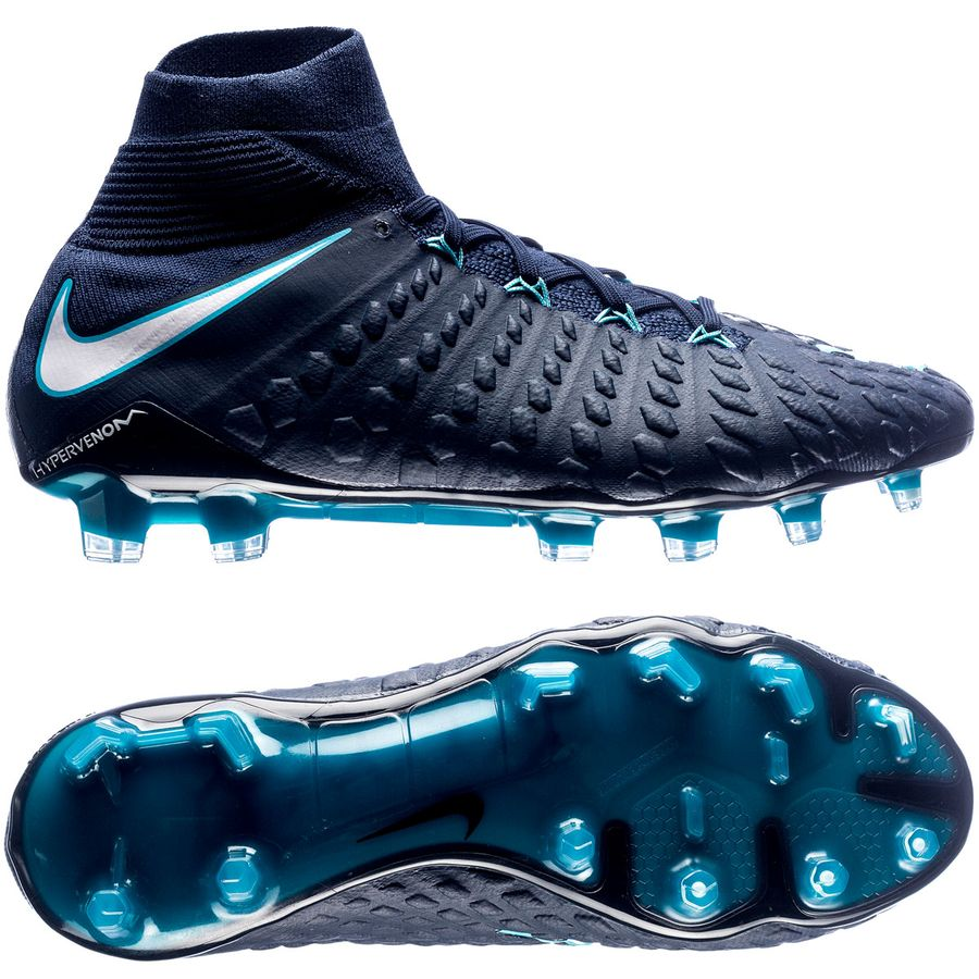 nike hypervenom phantom 3 df fg ice - obsidian/white/gamma blue - football