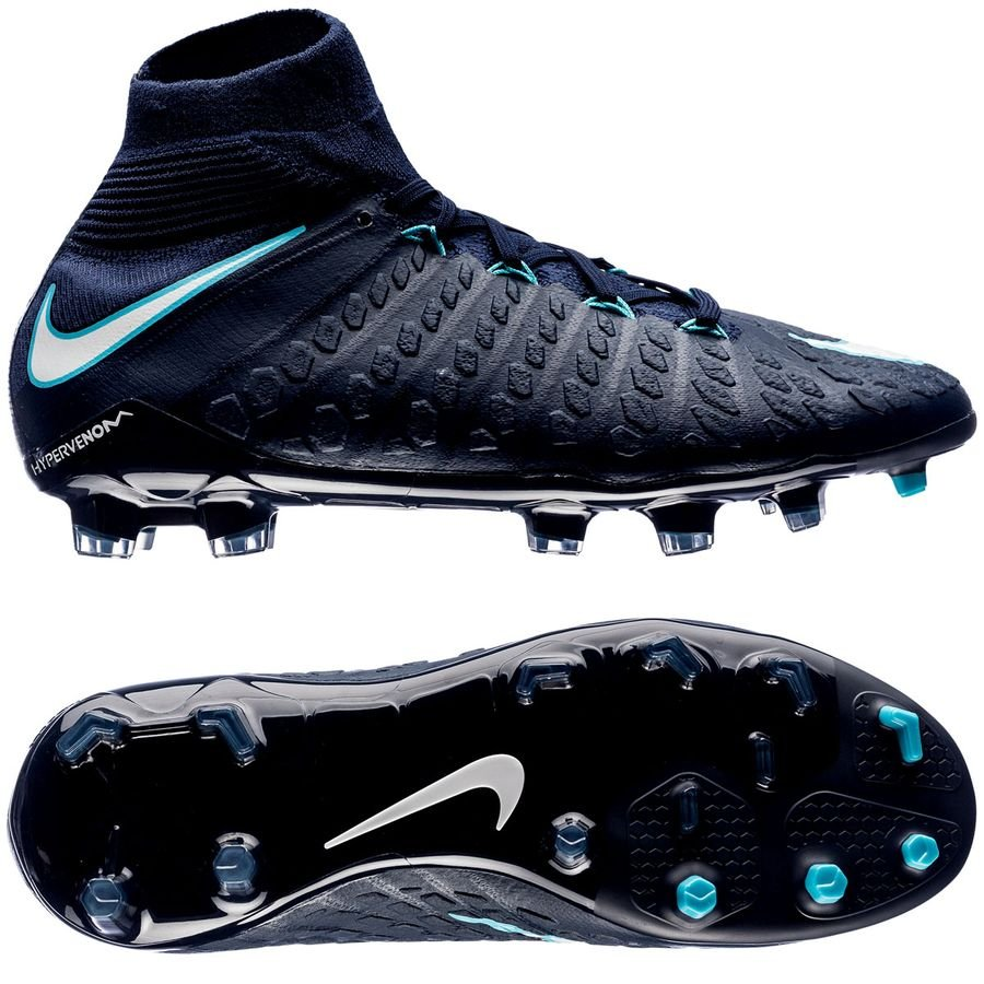 nike hypervenom phantom 3 df fg ice - obsidian/white/gamma blue kids -