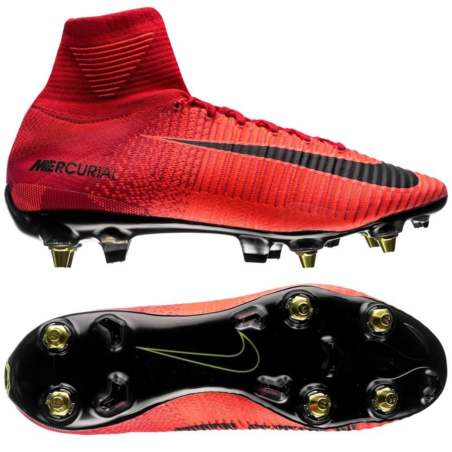 nike mercurial superfly v sg-pro anti-clog fire - university red/black