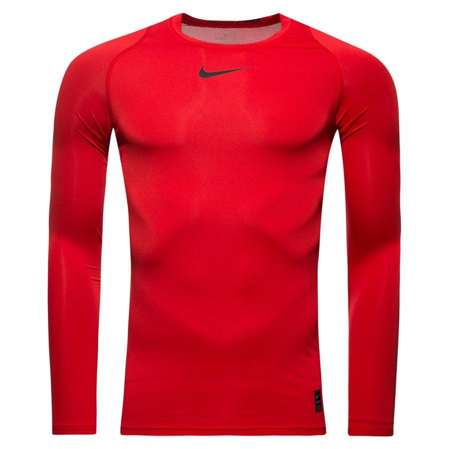 Nike Pro Compression Manches Longues - Rouge/Noir