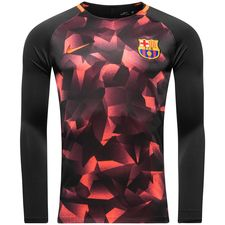 barcelona training shirt dry squad crew - black/hyper crimson kids - training tops