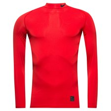 nike pro compression mock manches longues - rouge/noir - baselayer
