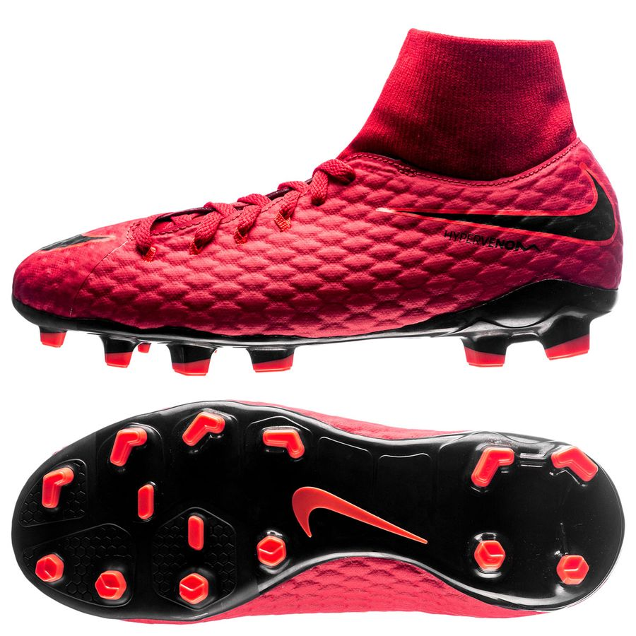 size 40 b231c c1f47 nike hypervenom phelon 3 df fg fire - röd svart barn - fotbollsskor ...
