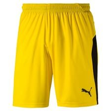 puma shorts liga with brief - cyber yellow kids - shorts
