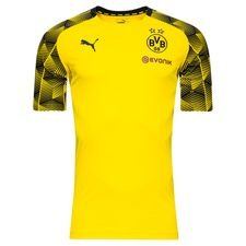 dortmund trænings t-shirt stadium - gul/sort - træningstrøjer
