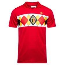 belgien retro hjemmebanetrøje 1984 originals - rød - fodboldtrøjer