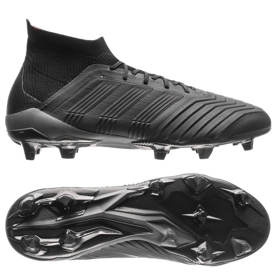 adidas predator 18.1 fg/ag nite crawler - zwart/rood - voetbalschoenen