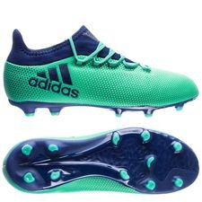 adidas x 17.1 fg/ag deadly strike - grøn/blå/grøn børn - fodboldstøvler