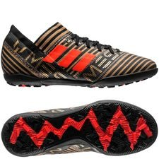 adidas nemeziz messi tango 17.3 tf skystalker - core black/solar red/tactile gold metallic kids - football boots