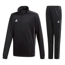 adidas core 18 sæt - sort/hvid børn - træningsdragt
