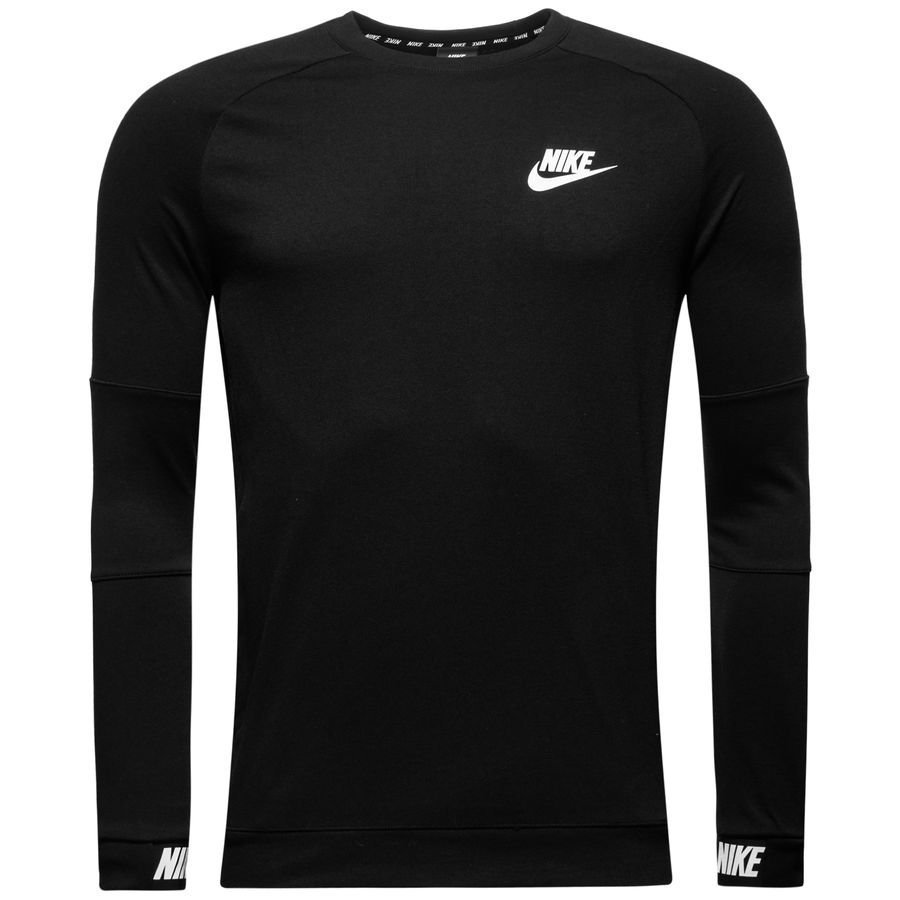 nike sweat shirt nsw advance 15 crew noir blanc www. Black Bedroom Furniture Sets. Home Design Ideas
