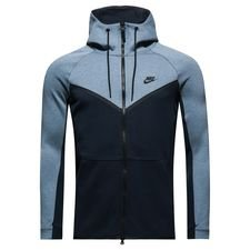 nike hoodie fz nsw tech fleece windrunner - aegean storm/heather/black - hoodies