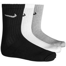 nike training socks value cotton crew 3-pack - grey/white/black - socks