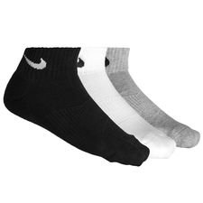 nike ankle socks cushion 3-pack - grey/white/black - socks