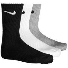 nike sokker performance lightweight crew 3-pak - grå/hvid/sort - sokker
