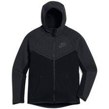 nike luvtröja nsw tech fleece - svart/grå barn - huvtröjor