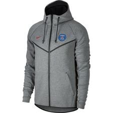 paris saint-germain hættetrøje nsw tech fleece windrunner - grå/rød - hættetrøjer