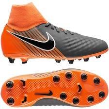 nike magista onda ii df ag-pro fast af - dark grey/black/total orange kids - football boots