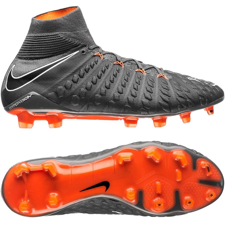 buy popular 97801 b0556 nike hypervenom phantom 3 elite df fg fast af - dark grey total orange  ...