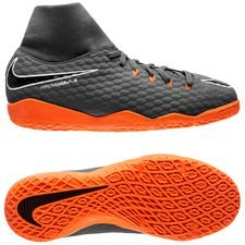 nike hypervenom phantomx 3 academy df ic fast af - dark grey/total orange/white kids - indoor shoes