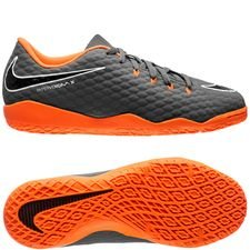 nike hypervenom phantomx 3 academy ic fast af - dark grey/total orange/white kids - indoor shoes