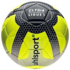 uhlsport fodbold elysia ligue 1 2017/18 replica - neon/sølv/sort - fodbolde
