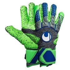 uhlsport goalkeeper gloves tensiongreen supergrip finger surround - dark grey/fluo green/navy - goalkeeper gloves