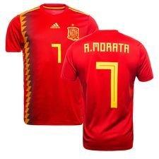 spanien hjemmebanetrøje vm 2018 morata 7 børn - fodboldtrøjer