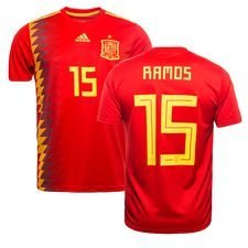 spanien hjemmebanetrøje vm 2018 ramos 15 børn - fodboldtrøjer