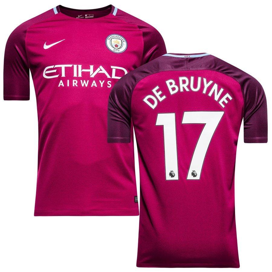 manchester city away shirt 2017 18 de bruyne 17 kids - football shirts ... 6781bd103