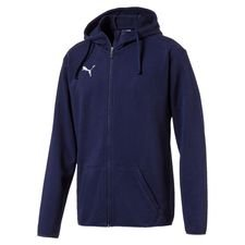 puma hættetrøje liga casual fz - navy/hvid - hættetrøjer