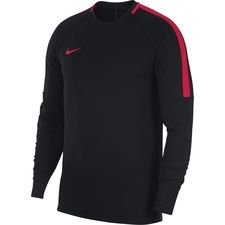 nike training shirt academy midlayer crew top - black/red - training tops
