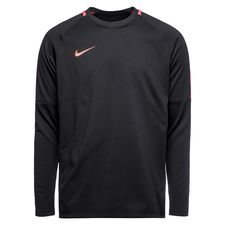 nike training shirt academy midlayer crew top - black/red - training tops