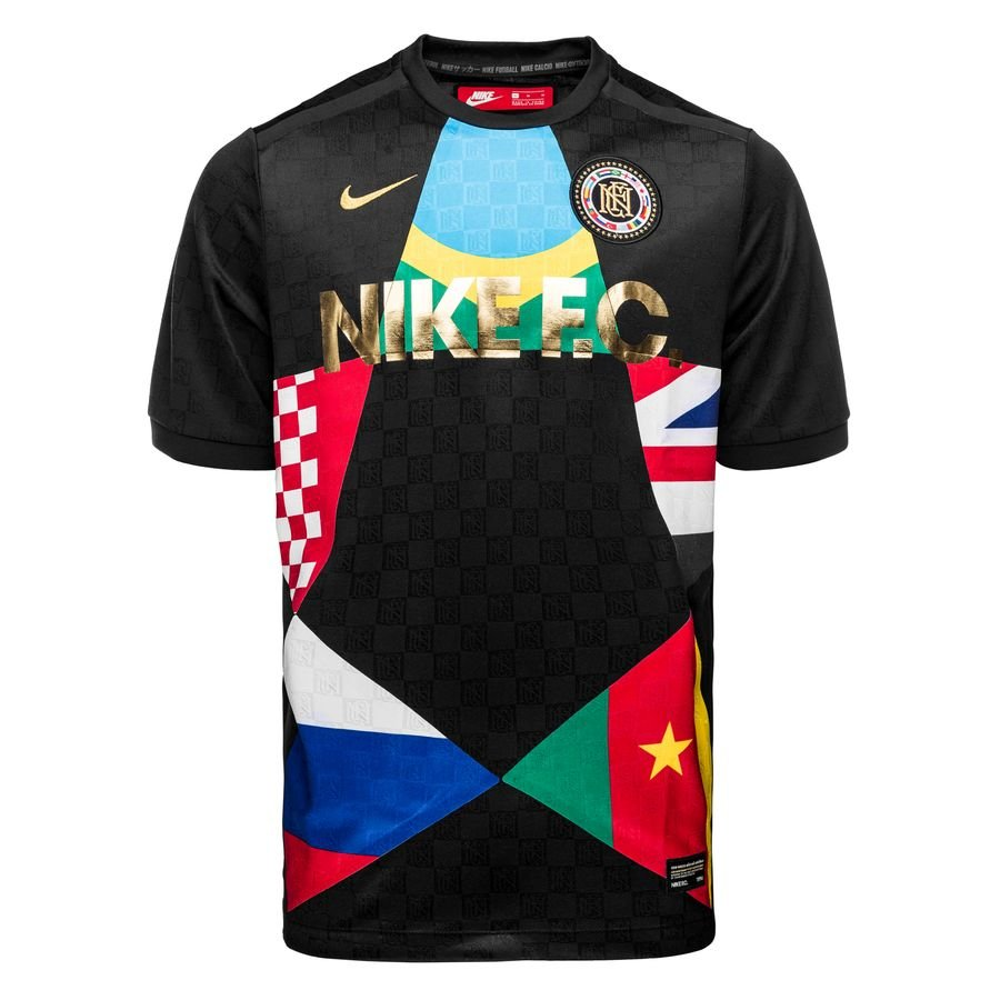 nike f.c. trainingsshirt - zwart/rood - voetbalshirts