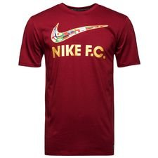 nike f.c. t-shirt swoosh - team red/metallic gold - t-shirts