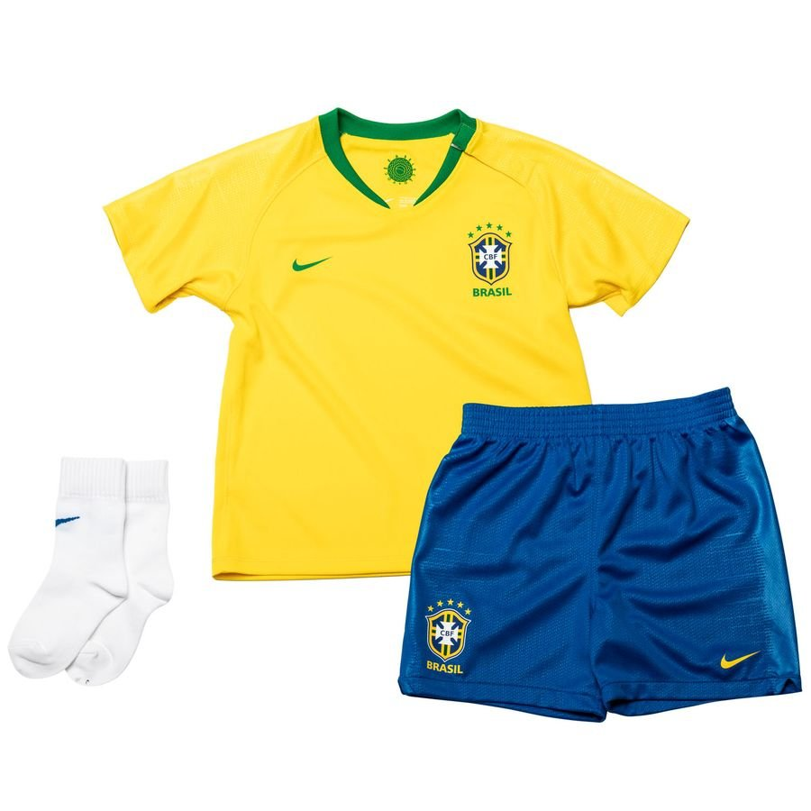 brazil home shirt 2018 19 baby-kit - football shirts ... 678b4e9a95bc