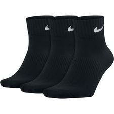 nike socks lightweight quarter 3-pack - black/white - socks