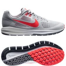 nike running shoe air zoom structure 21 - vast grey/bright crimson/grey - running shoes