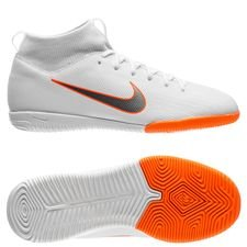 nike mercurial superflyx 6 academy ic just do it - hvid/orange børn - indendørssko