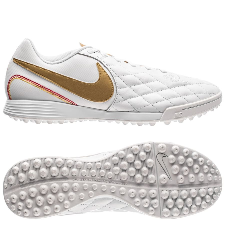 nike tiempo legendx 7 academy tf 10r - white/metallic gold - football boots