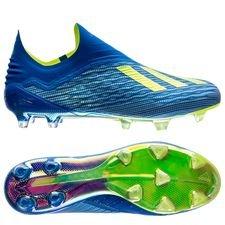 adidas x 18+ fg/ag energy mode - blå/gul - fotballsko