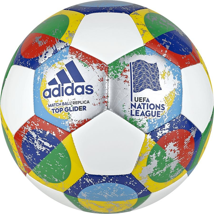 adidas Ballon UEFA Ligue des Nations Top Glider - Blanc/Argenté/Multicolor
