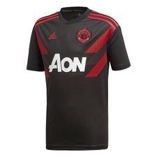 manchester united trænings t-shirt pre match - sort/rød børn - træningstrøjer
