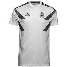 real madrid trænings t-shirt pre match - grå/sort - træningstrøjer