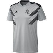 real madrid trænings t-shirt pre match - grå/sort børn - træningstrøjer