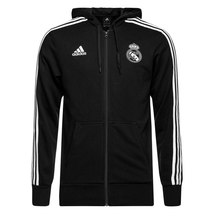 Real Madrid Sweat à Capuche 3S FZ HD - Noir/Blanc