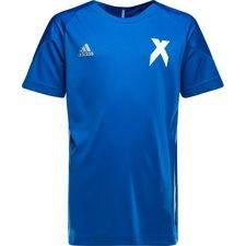 adidas trænings t-shirt x - blå/hvid børn - træningstrøjer