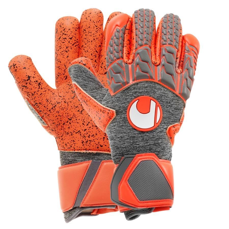 Uhlsport Gants de Gardien Rouge Supergrip Finger Surround - Gris/Rouge fluo