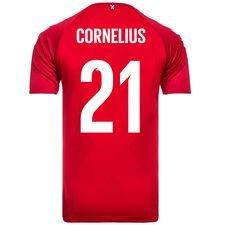 danmark hjemmebanetrøje vm 2018 pro player edition cornelius 21 - fodboldtrøjer