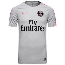 paris saint-germain trænings t-shirt breathe squad - grå/pink - træningstrøjer